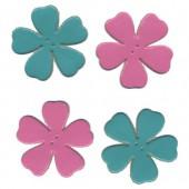 Fleurs en cuir, rose et turquoise, 4 pces