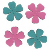 Leather flowers, pink-turquoise, 4 pcs