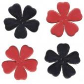 Fleurs en cuir, rouge et noir, 4 pces
