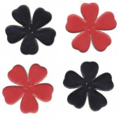 Leather flowers, red-black, 4 pcs