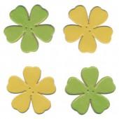Fleurs en cuir, vert et jaune, 4 pces