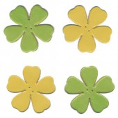 Leather flowers, yellow-green, 4 pcs