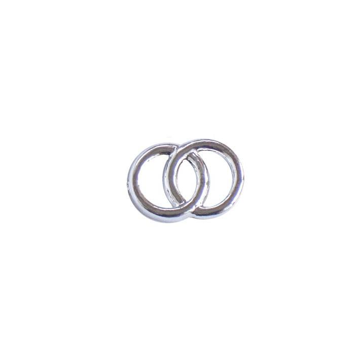 Decorative Wedding rings, silver, 2cm, 100 pcs