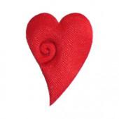 Coeurs en tissu rouge, forme élégante, 4cm, 40 pces