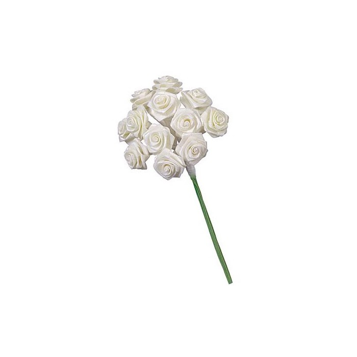 12 Bunches of 12 small roses, white 1.5cm