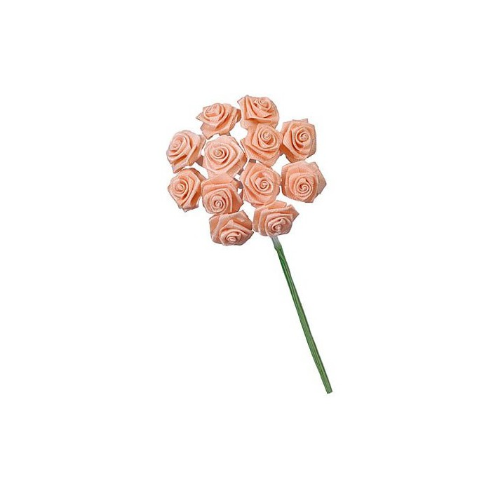 12 Bunches of 12 small roses, salmon pink 1cm