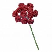 12 Bouquets de 12 mini roses, bordeaux 1.5cm