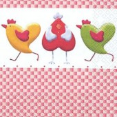 Napkin Hens and Hearts, 1 piece