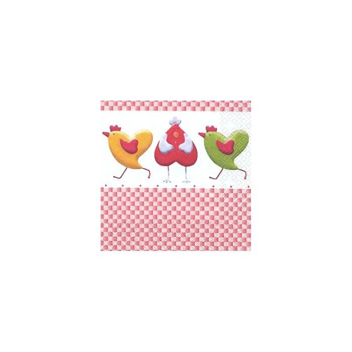 Napkin Hens and Hearts, 1 piece