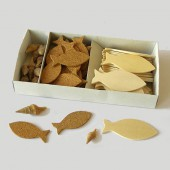 Wooden and cork fishes + shells, 5-6cm
