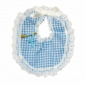 Fabric bibs, 10cm, blue, 12 pcs