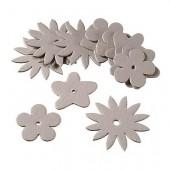 Fleurs plates en carton, 15 pces