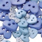 "Boutons ""Mix de coeurs"", bleu, 7g"