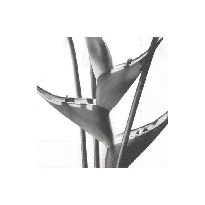 Napkin white/black flower, 1 piece
