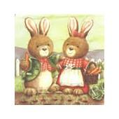 Serviette couple de lapins, 1 pièce