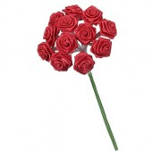 12 Bouquets de 12 mini roses, rouge 1.5cm