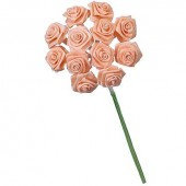 12 Bunches of 12 small roses, salmon pink 1.5cm