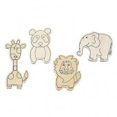 Zoo animal, assorted, 4 pcs