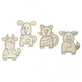 Farm animal, assorted, 4 pcs