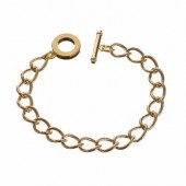 Adjustable bracelet with toggle closure, gold-coloured