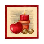 Napkin candle with apple, 1 piece