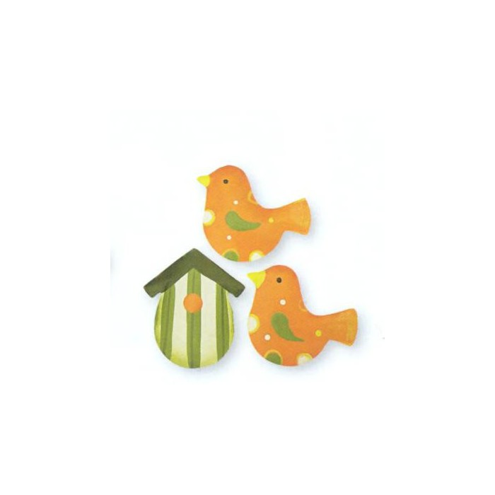 Metallic birds,  3.5cm, 3 pcs