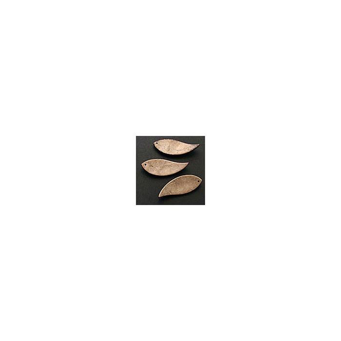 Décoration en bois de coco forme feuille, 6cm, brun foncé
