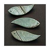 Décoration en bois de coco forme feuille, 6cm, vert