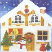 Serviette bonhomme de neige et maison, 1 pièce