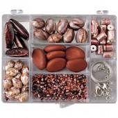 Kit perles fantaisie brun/bordeaux