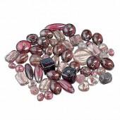Mix perles de verre, lilas, 100g