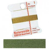 Natural silk thread, 0.35mm/2m, green