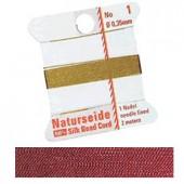 Natural silk thread, 0.35mm/2m, red