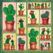 Serviettes cactus, paquet  de 12 pièces