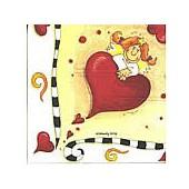 Serviette anges + coeur, 1 pièce