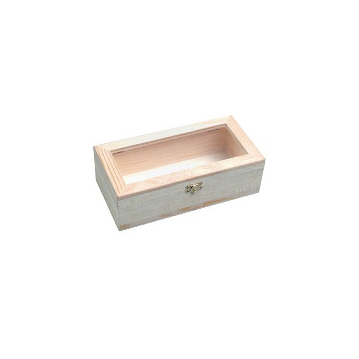 Wooden box with plastic window 24x12x7.5cm