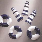 Bouées et phares, bleu/blanc, 30/25mm, 6 pcs