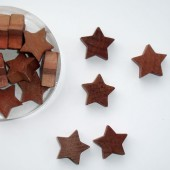 Wooden Stars, brown, 2.5cm, 18 pcs