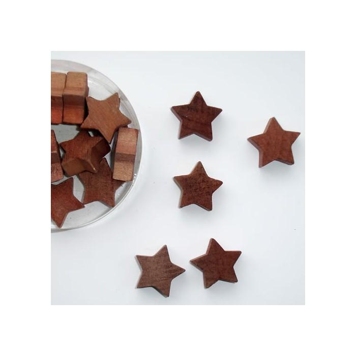 Wooden Stars, brown, 2.5cm, 18 pcs