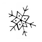 Rubberstamp Snowflake 2.5x2.5cm