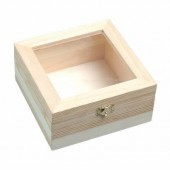 Wooden box with plastic window 15.5x15.5x7.5cm