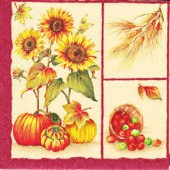 Napkin sunflower and apples, 1 piece