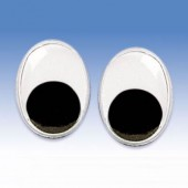 Yeux mobiles à coller ovales, 7x10mm, 10 pièces