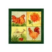 Napkin country rooster, 1 piece