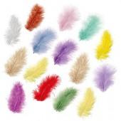 Marabu feathers, assorted, 10cm, 15 pcs