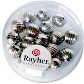 Perles en métal rondes avec rainures, 8mm, 18 pièces