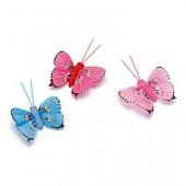Papillons décoratifs assortis bleu rose, 5cm, 3 pièces