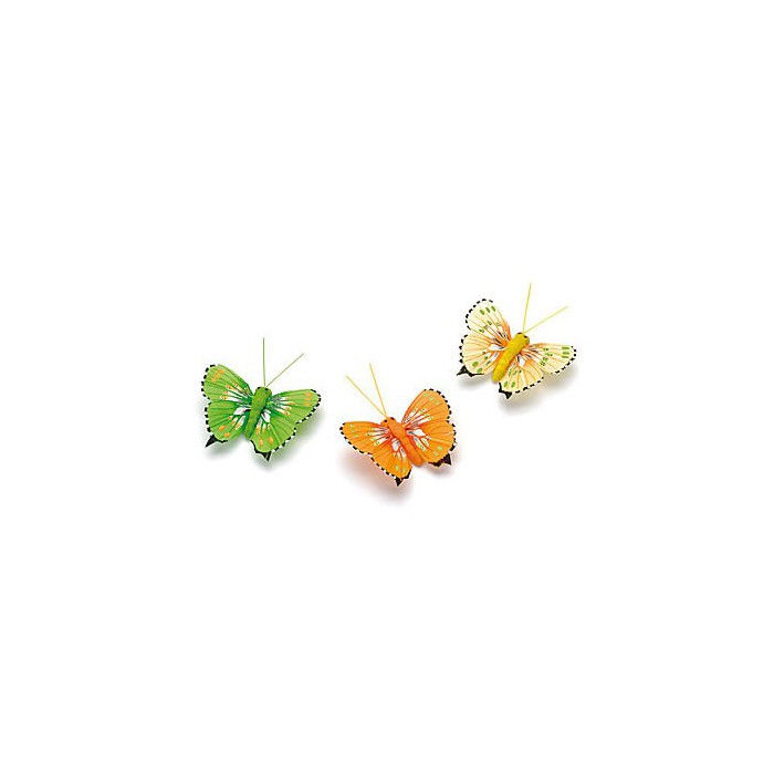 Assorted Butterflies green-yellow 5cm, 3 pcs