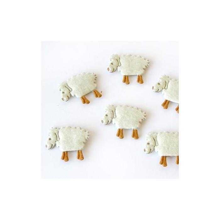 Felt sheep, 32mm, 3 pcs