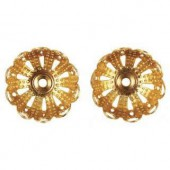 Filigree Cap 14mm, gold, 8 pcs